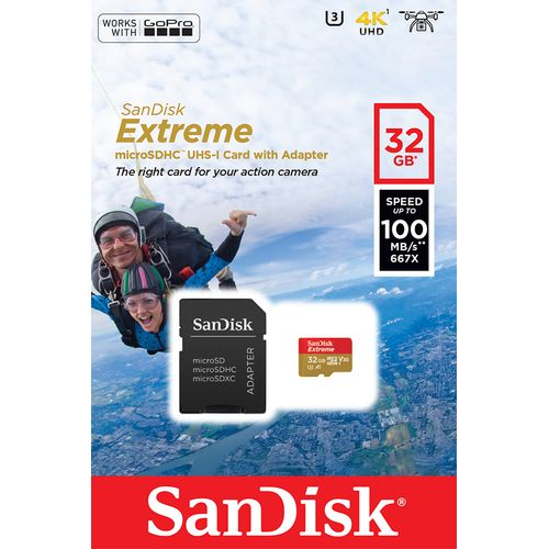 Cartao-De-Memoria-MicroSD-32GB-Extreme-Classe-10-Ate-100MBs-Camera-de-acao-4K-e-Full-HD--SDSQXAF-032G-GN6AA